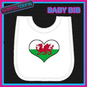 WALES WELSH HEART FLAG I LOVE WHITE BABY BIB EMBROIDERED